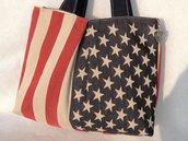 Borsa con bandiera Americana in gobelin fatto a mano