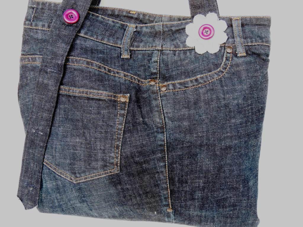 Borsa riciclo jeans fatto a mano