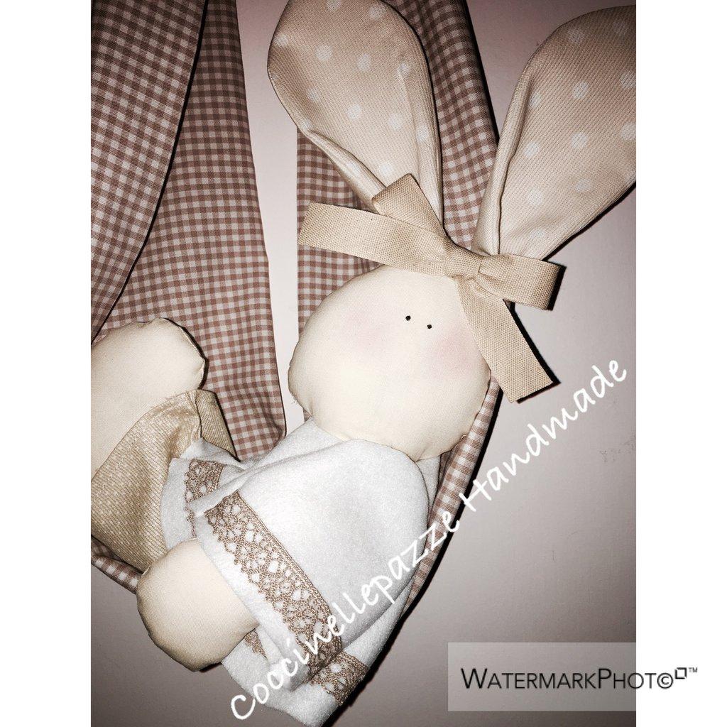Fiocco nascita Coniglietto nel Fagotto Beige neutro annuncio cameretta