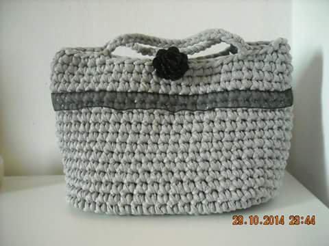borsa in fettuccia grigio