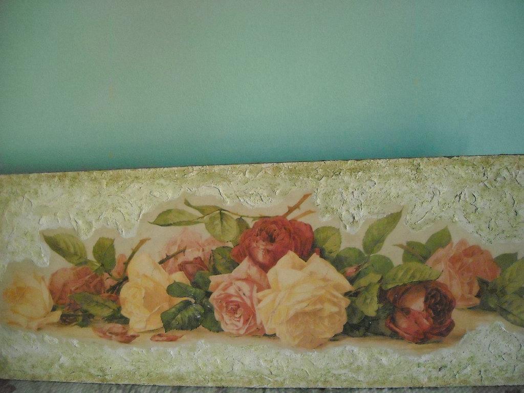 Finto Affresco su tavola con  rose Spedizione gratuita