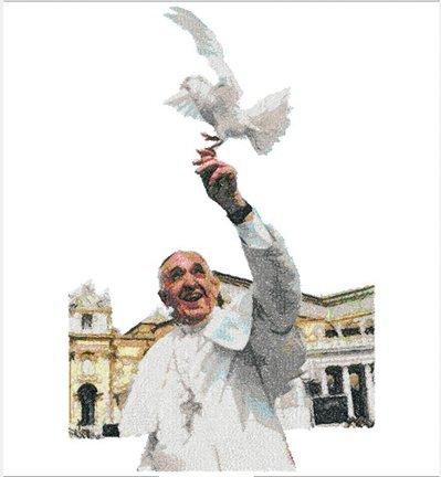 Papa Francesco ricamato