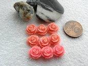FUORI TUTTO 9PZ mini CABOCHON IN RESINA  FORMA  rosa 10mm mix color