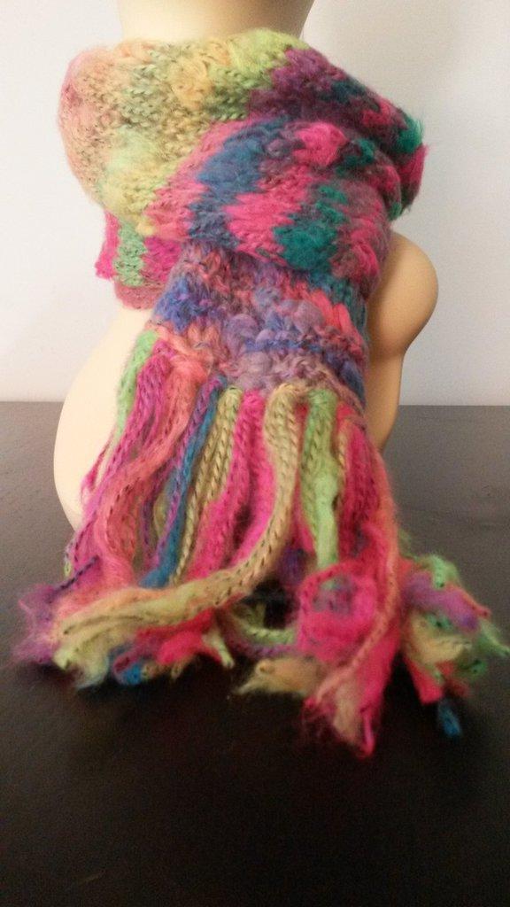 Sciarpa bambina fluo con frange