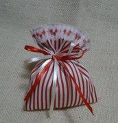 Sacchetti-Bomboniere matrimonio in cotone e pizzo  - Dimensione 12x10 cm - Varieta' di opzioni colore - Rustic chic