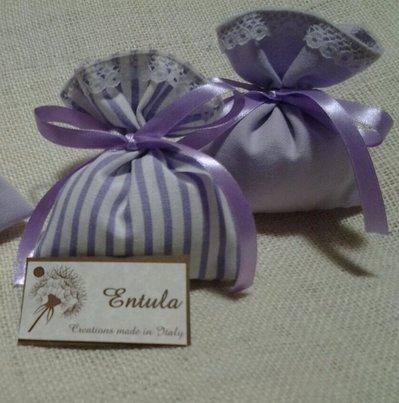 Sacchetti-Bomboniere matrimonio in cotone e pizzo  - Dimensione 12x10 cm - Bianco e lavanda-Varieta' di opzioni colore - Rustic chic