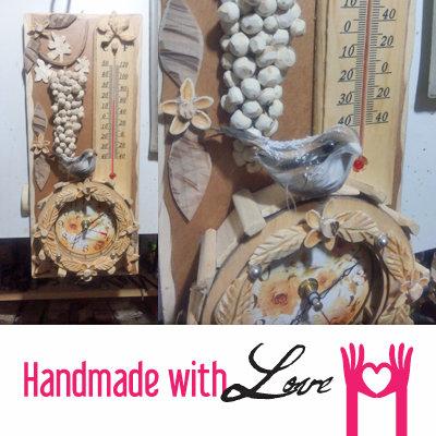 Quadretto decorato con Orologio in legno e termometro