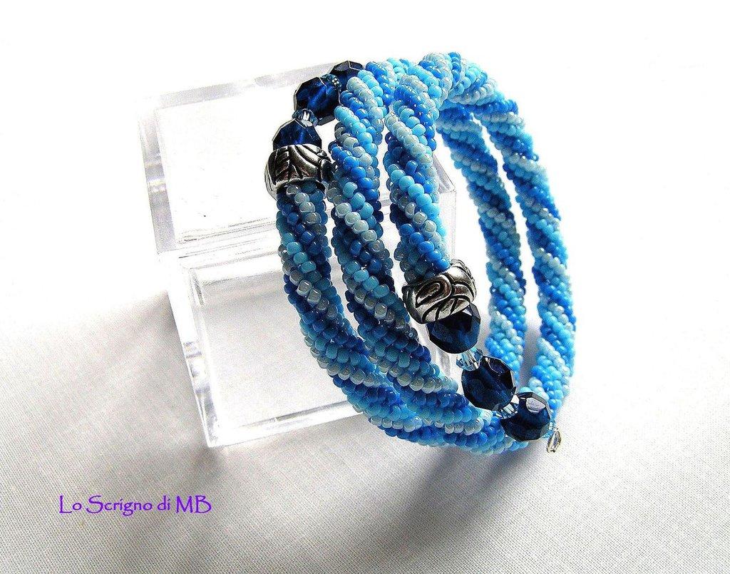 Bracciale Spirale Herringbone Azzurro e Blu