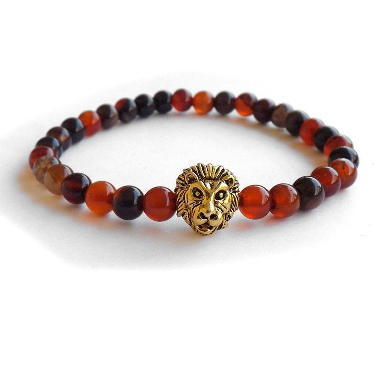 Bracciale elastico per uomo, testa di leone color oro antico e agata