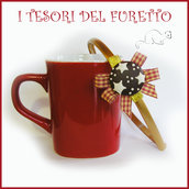 """Cerchietto """"Pan di stelle su fiocco  rosso tartant e oro""""  idea regalo bambina accessori capelli biscotto fimo cernit"""