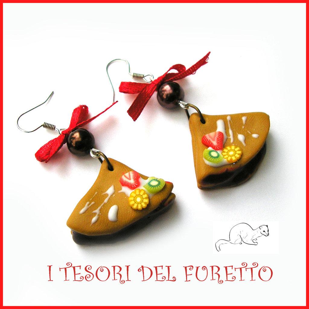 """Orecchini """"Crepes al cioccolato con frutta"""" Idea regalo fimo cernit premo bijoux kawaii clip natale bambina dolcetti"""