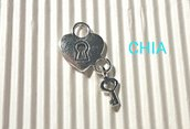 5 charms cuore lucchetto + chiave