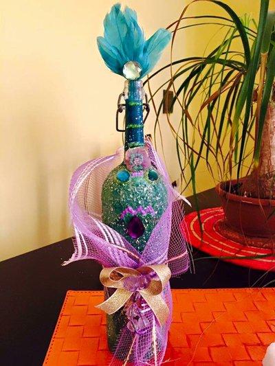 Bottiglia decorata soprammobile