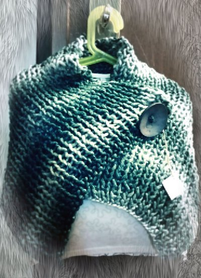 Sciarpa cappa verde bianco melange