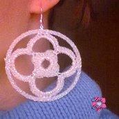 Orecchini Cerchio Bianco Iridescente Mod.3