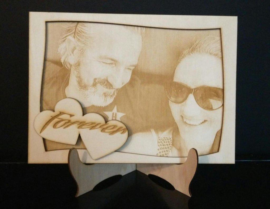Idee Fotografiche Regalo : Quadro cm con foto incisa su legno feste idee regalo d