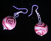 Handmade earings red roses