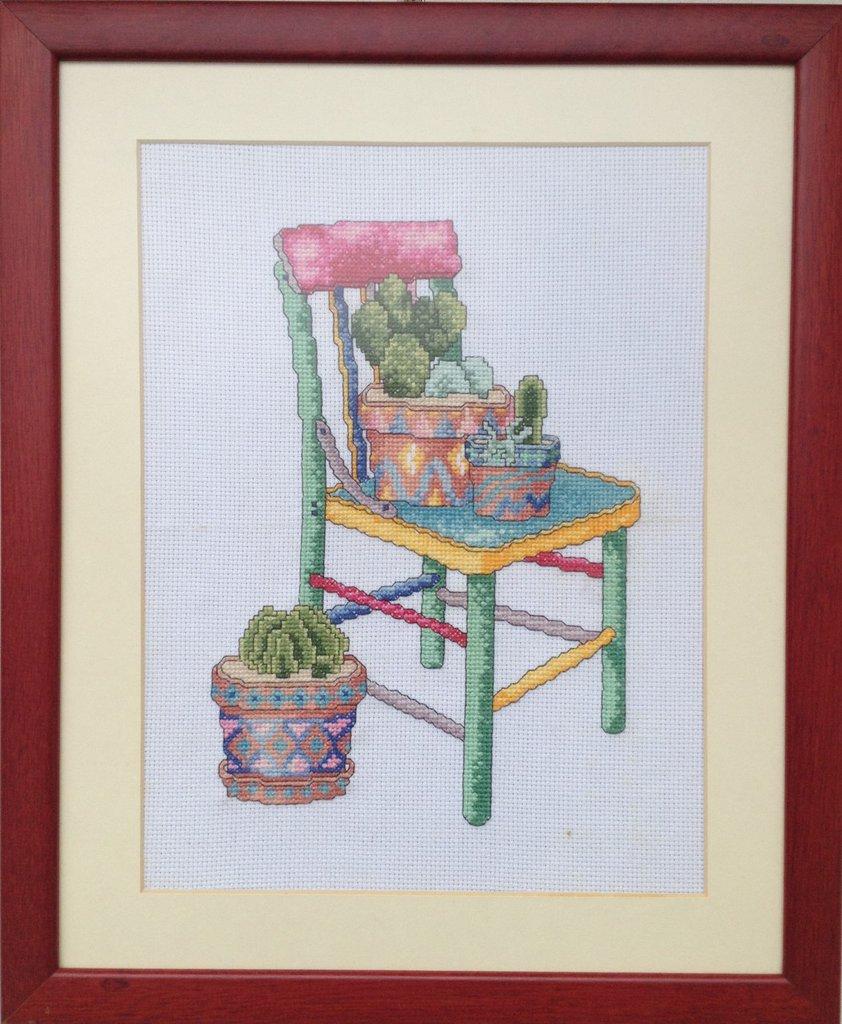 """Quadro punto croce """"Silla y Cactus"""""""