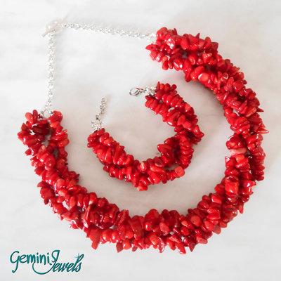 Parure girocollo + bracciale chips di Corallo rosso