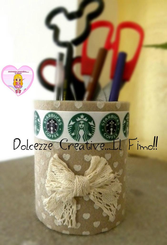 Portapenne - Porta forbici - Starbucks - Caffè - Shabby chic - pannolenci cuori