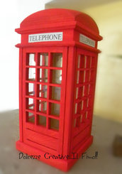 Salvadanaio - CABINA TELEFONICA LONDRA - red telephone box -london  idea regalo legno - miniature