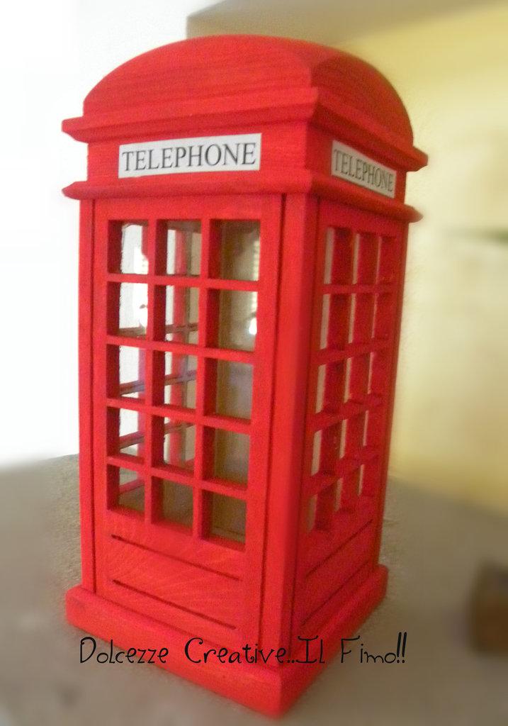 Salvadanaio - CABINA TELEFONICA LONDRA - red telephone box -london  idea regalo legno - miniature