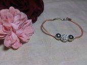 Braccialetto con coda di topo rosa e perla strass bianca