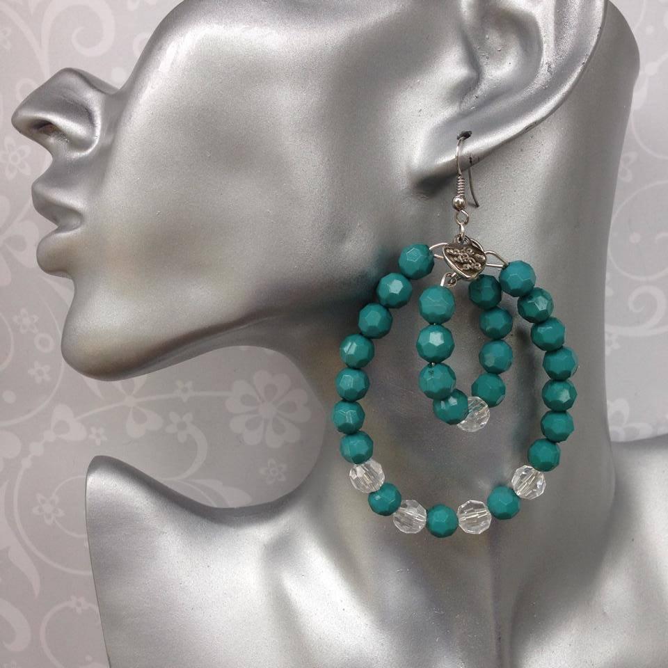 Orecchini Reasins Beads Verde Smeraldo