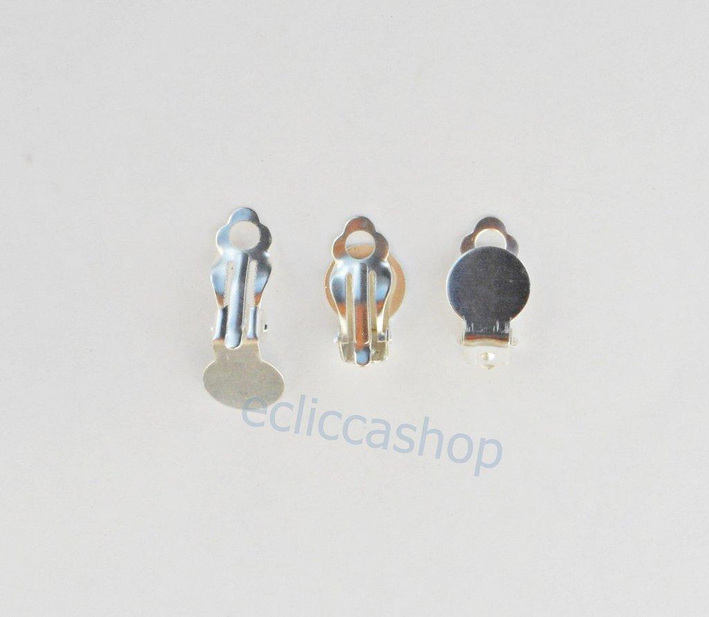 base orecchini a clips color argento 2 coppie