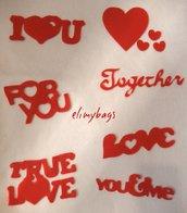 Scritte decorative romantiche in feltro adesive applique su tessuto♥