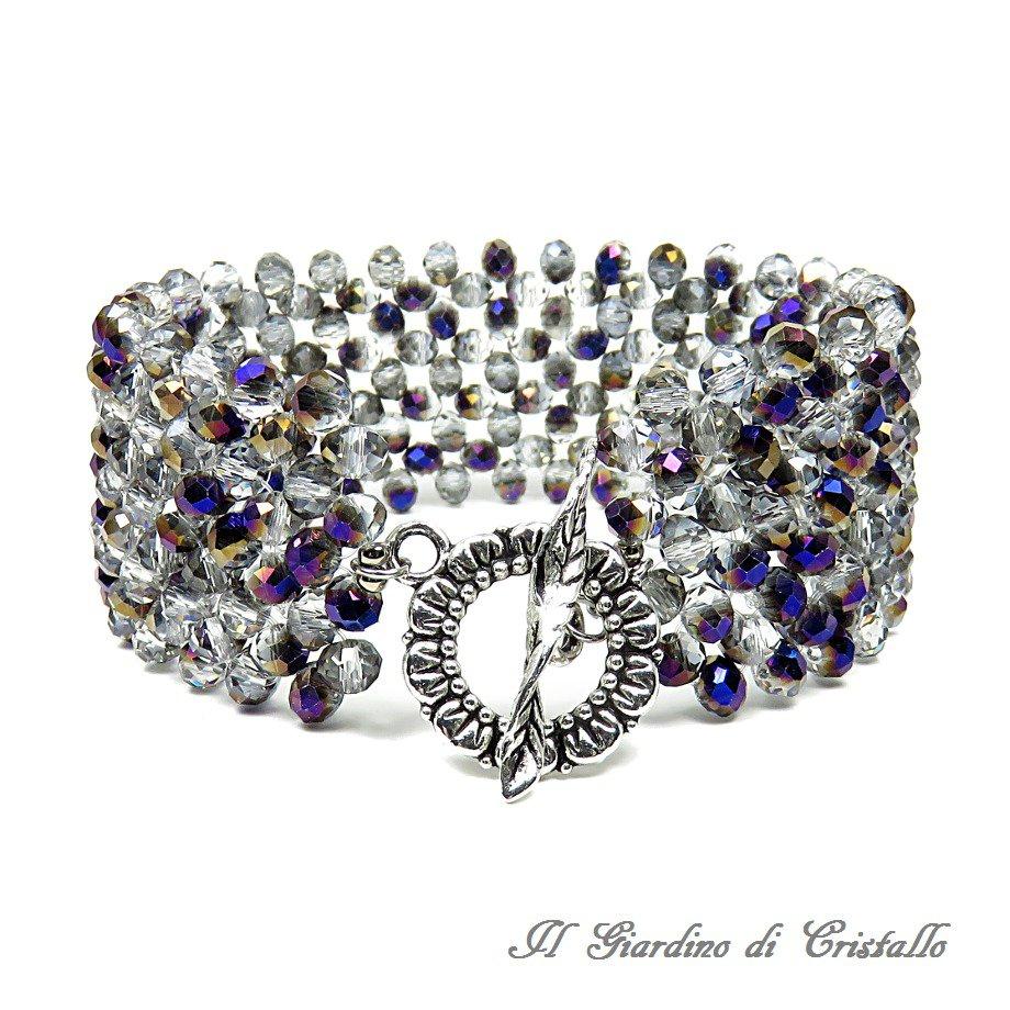 Bracciale a fascia cristalli grigi riflessi blu bronzo chiusura fiore fatto a mano  - Garofano