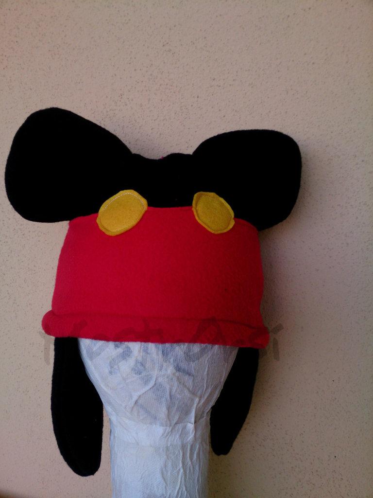Cuffia Mickey pile con paraorecchie lungo