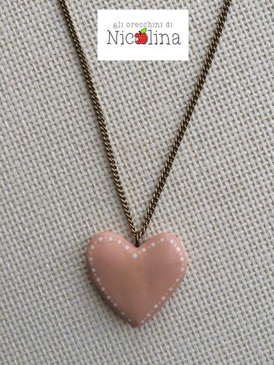 Collana lunga con cuore rosa