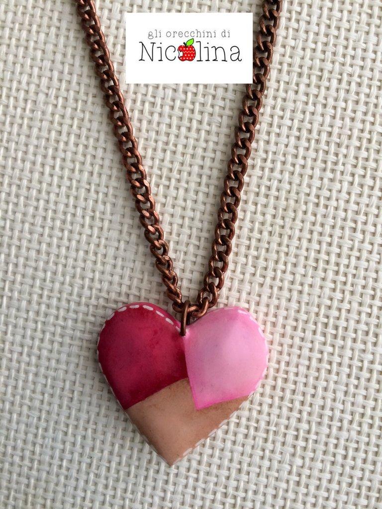Collana lunga con cuore rosa patchwork