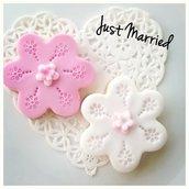 Biscotti decorati per nascita o battesimo in rosa e bianco