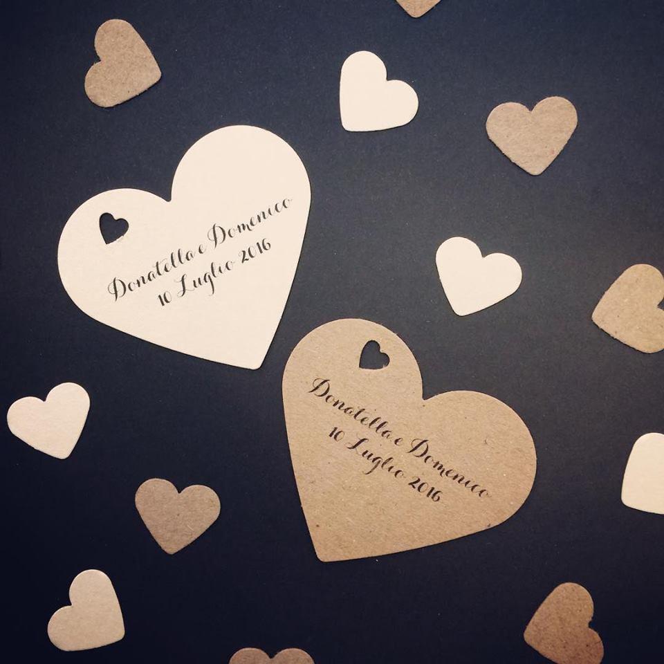 Bigliettino bomboniera matrimonio forma di cuore