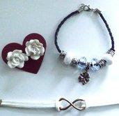 Lotto comprendente bracciale simbolo infinito in alcantara bianco,orecchini rose in fimo e bracciale della fortuna con perle a foro largo e ciondolo quadrifoglio idea regalo