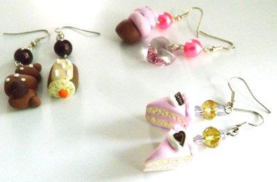 Lotto comprendente tre paia di orecchini realizzati in fimo idea regalo per lei