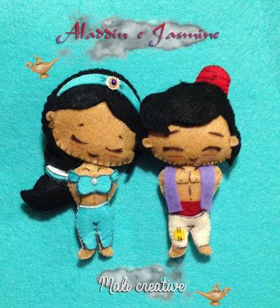 set 2 calamite Aladdin & Jasmine