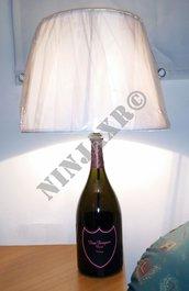 Lampada Bottiglia Dom Perignon Rosè Champagne Luminous Magnum artigianale da arredo riciclo creativo