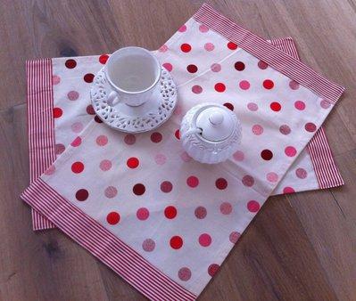 Set 2 tovagliette americane di cotone a pois - decorazioni righe - Dimensione 50x30 cm-San Valentino