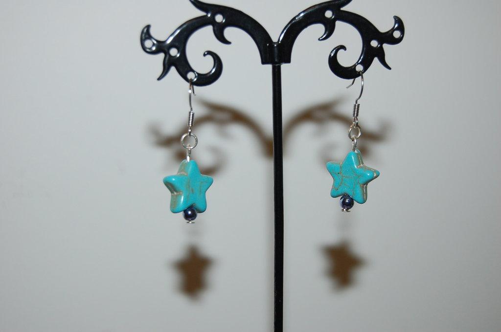 orechini a stella turchesi