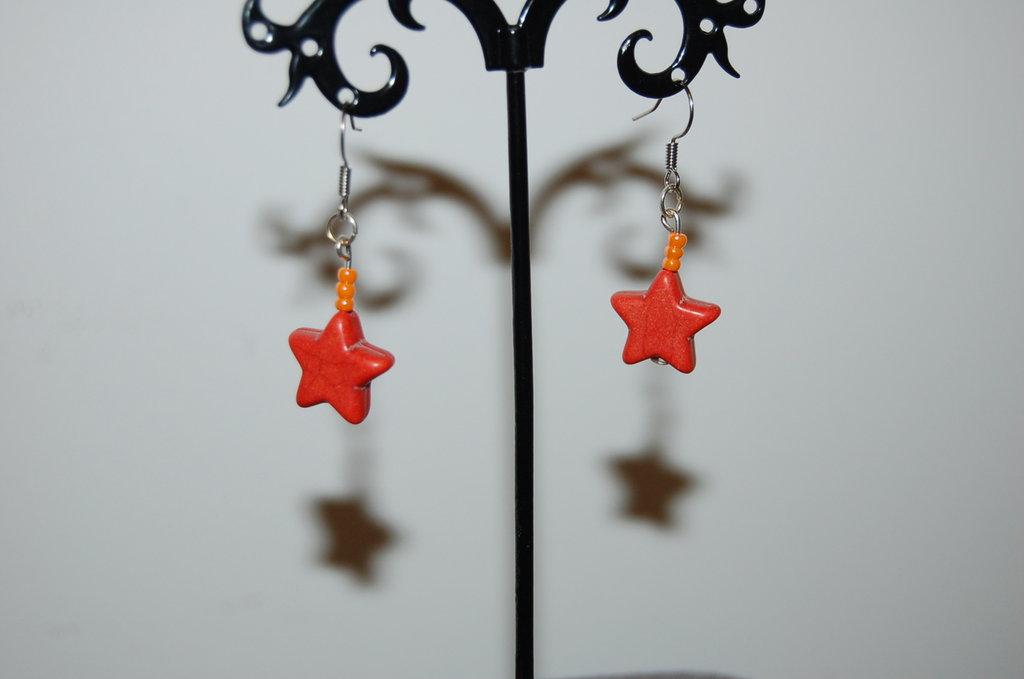 orecchini a stella arancioni