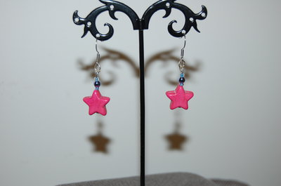 orecchini a stella rosa