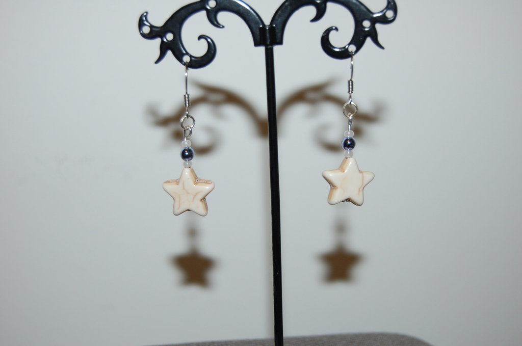 orecchini a stella bianchi
