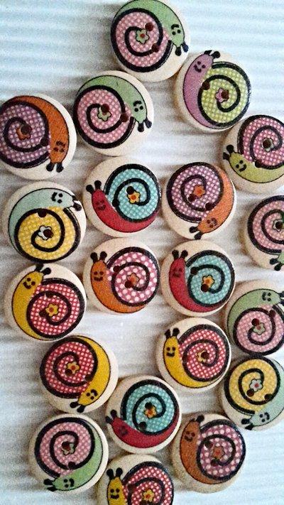 10 bottoni legno lumachina 20mm diametro