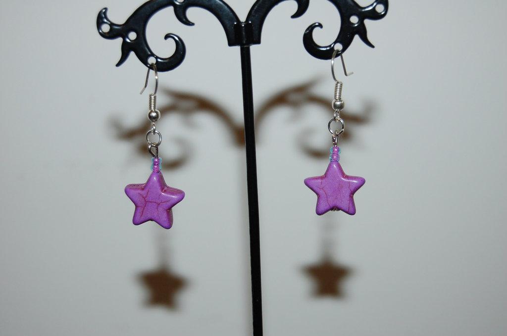 orecchini a stella viola