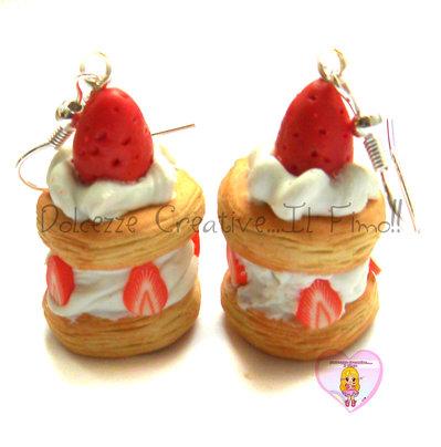 Orecchini Millefoglie - Piccola pasticceria - Crema e fragole