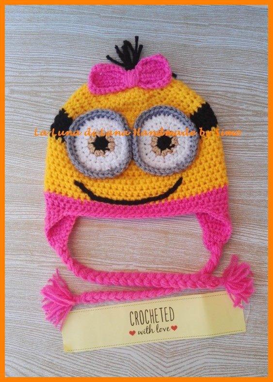 Cappellino per bambina uncinetto a forma di Minions