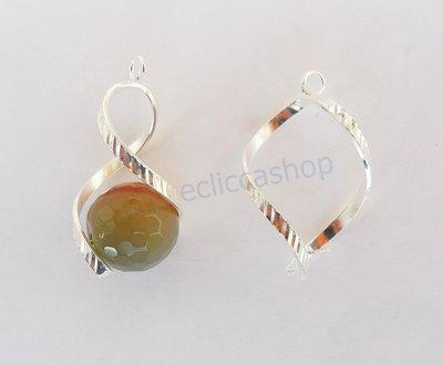 Base orecchini color argento a forma di spirale (1coppia)